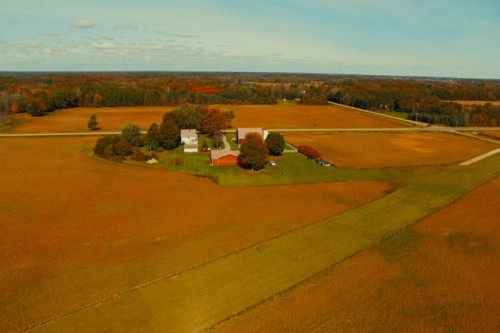 aerial shot of Little Red Barn of Nunica Wedding