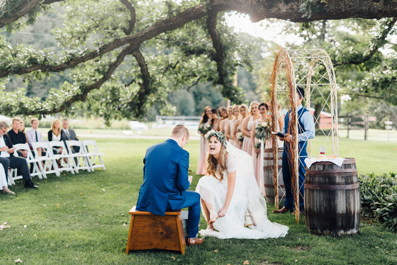 sugarland wedding bride washes grooms feet