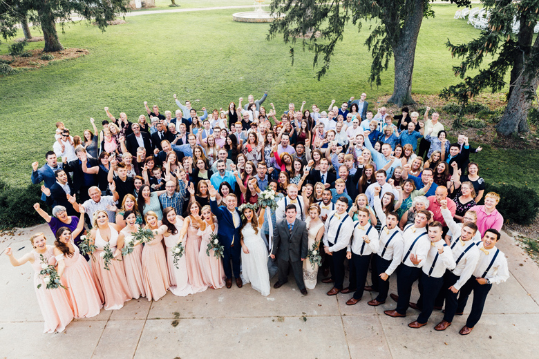 sugarland wedding big group picture of all guests