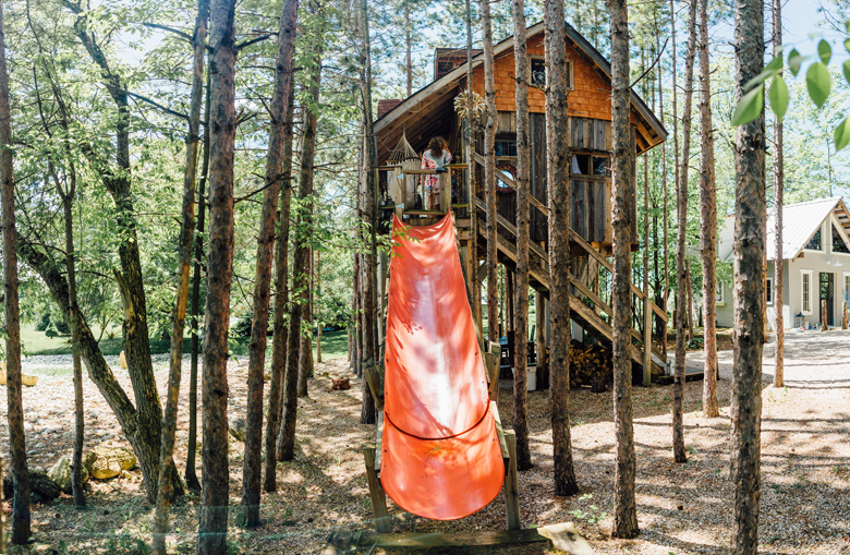 forest wedding tree house slide