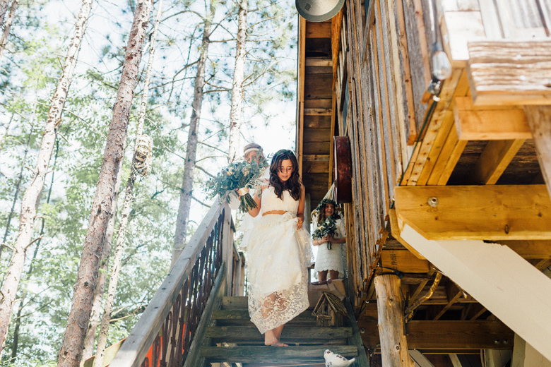 forest wedding bride treehouse