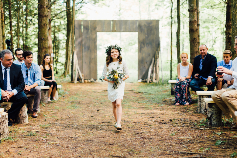 forest wedding flower girl