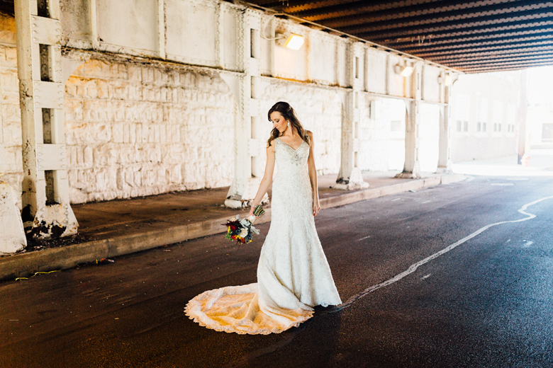 city view loft wedding portraits