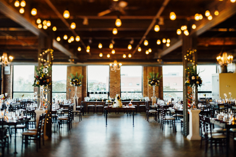 city view loft wedding reception