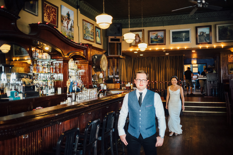 Honky Tonk BBQ Secret Garden wedding first look