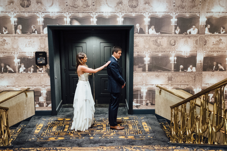 brique chicago wedding first look hotel allegro