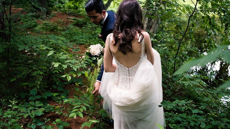 Foxfire Mountain Wedding Video bride groom in forest