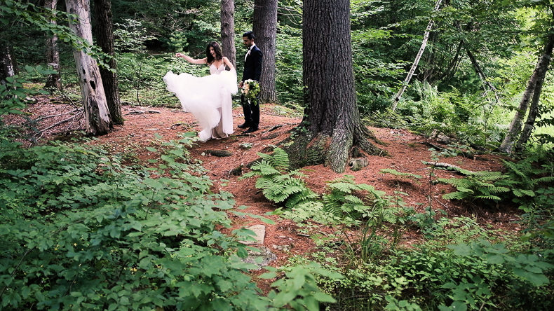 Foxfire Mountain Wedding Video bride groom fling dress