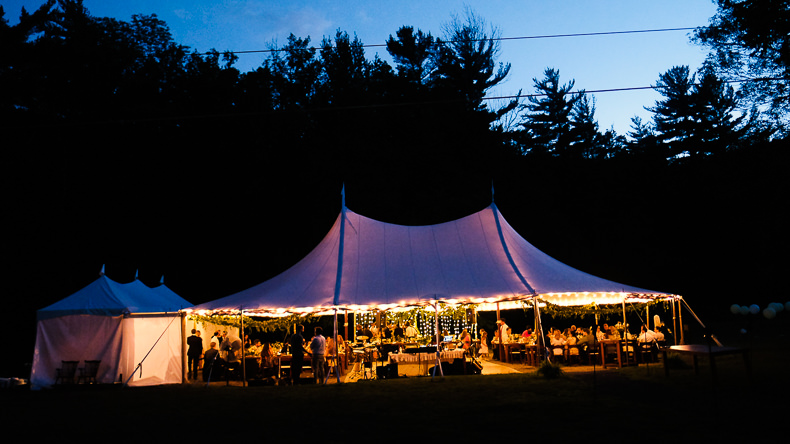 Foxfire Mountain Wedding Video tent reception dusk
