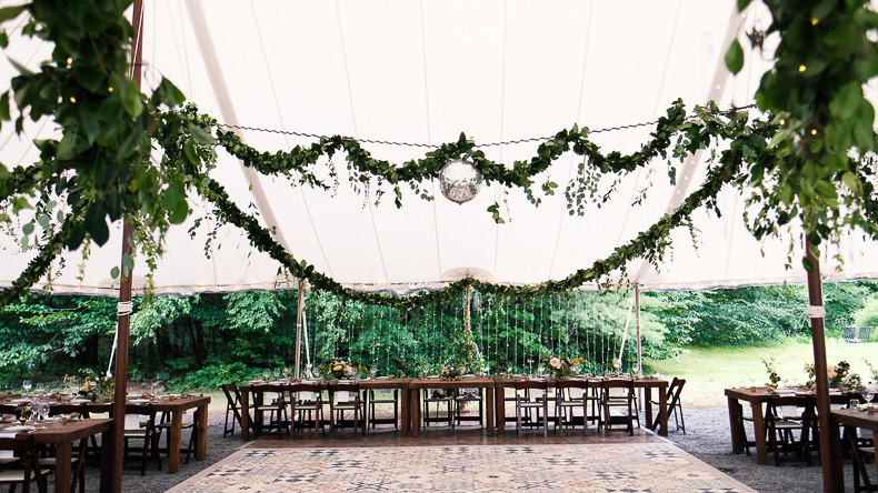 Foxfire Mountain Wedding Video reception greenery