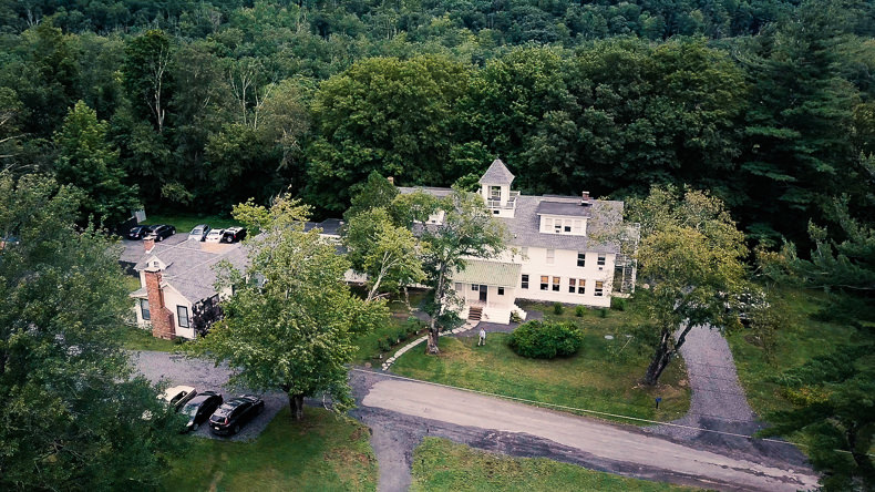Foxfire Mountain Wedding Video drone shot of venue upstate