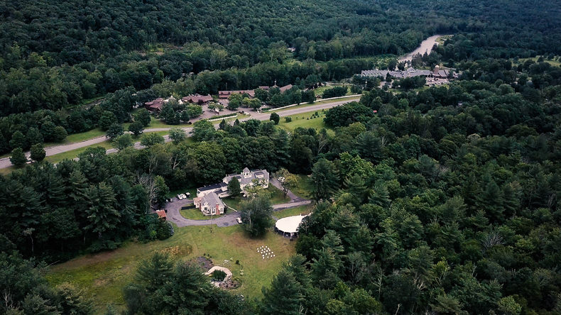 Foxfire Mountain Wedding Video drone shot of venue